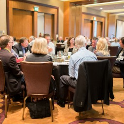 Conference attendees at a table