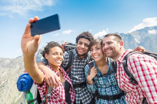 Group of friends climbing a Colorado mountain